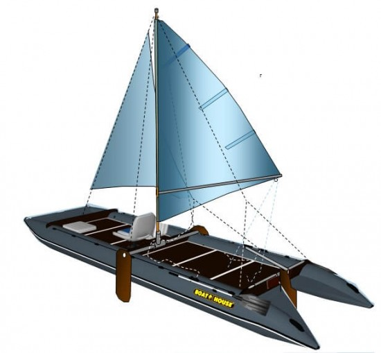Sailing armament 4.5 m mast with a grotto, boom, jib, jib